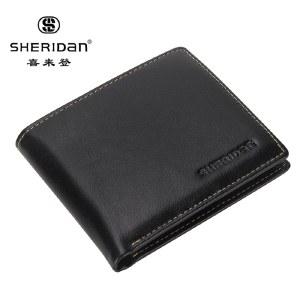 喜来登男士钱包男款薄头层牛皮男式钱夹短款黑色横款NL160917S 黑色