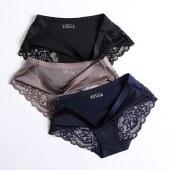 【三条装】FENGMI奢华珠光布蕾丝拼接性感内裤一片式无痕女士内裤FM086