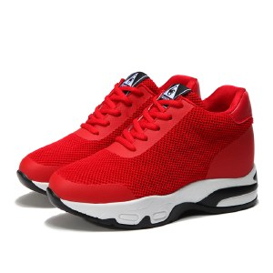 海谜璃(HMILY)2019夏新款内增高女鞋坡跟透气运动鞋女气垫跑步鞋休闲网面小白鞋HB9005