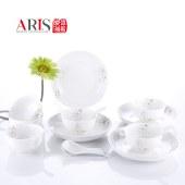 爱依瑞斯润叶--22头餐具套装 陶瓷饭碗筷子碟子汤匙勺子组合 AS-D2201H