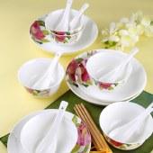 朵彩(DOCARE) 骨质瓷套装 陶瓷饭碗筷子碟子汤匙勺子组合 DC-22003J花香喜人