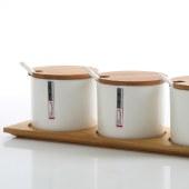 朵彩骨质瓷调味罐套装 厨房陶瓷味精盐罐 白瓷调料罐 DC-TW701