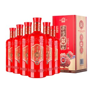 东方喜炮★吉祥红52度 单瓶*6支装整箱 浓香型白酒