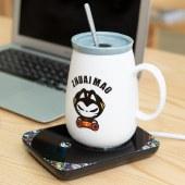贝丽55℃度暖暖恒温杯自动保温加热杯拽猫喵子杯