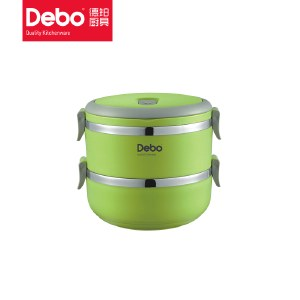 徳铂(debo) 不锈钢二层保温饭盒 多层学生密封餐盒提锅1.4L 沃格尔 DEP-TZ195CH