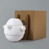 古时候瓷器羽翼系列快客杯便携旅行包套装 磨砂釉面浮雕陶瓷功夫茶具一壶两杯子 商务居家办公伴手礼 白色11320752004
