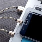 XO NB10一拖三数据编织线 锡铜线芯线材长度1200mm数据线充电线无线传输线 土豪金色