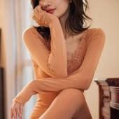 海谜璃秋冬新款保暖内衣女纯色显瘦打底衫蕾丝秋衣秋裤修身美体套装HBF2552