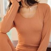 海谜璃女士保暖内衣无痕修身套装纯色打底衫圆领秋衣秋裤HBF2550