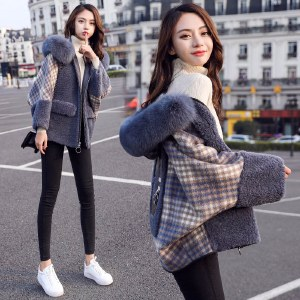 海谜璃chic羊羔毛外套女2020秋冬新款时尚加厚毛领小个子宽松格子短外套HBF1523