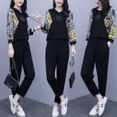 海谜璃 2020秋季新款 大码女装长袖休闲减龄两件套HBF2401