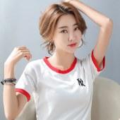 海谜璃夏新款撞拼色插肩袖弹力百搭韩版短袖t恤女HBF2334