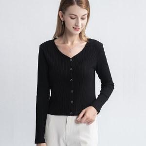 海谜璃黑色长袖T恤女秋季2020新款修身上衣短款性感打底衫薄款ins潮HBF2444