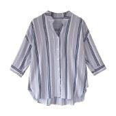 海谜璃夏季新款宽松条纹五分袖上衣POLO领百搭衬衫女韩版大码纽扣开衫潮HBF2432