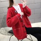 海谜璃针织开衫外套毛衣女宽松学生上衣韩版慵懒风外搭HBF2492
