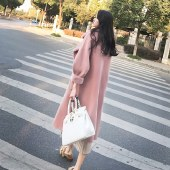 海谜璃加厚加棉高品质呢子大衣中长款2020冬季新款过膝毛领毛呢外套女HBF1524