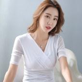 海谜璃交叉高弹网纱短袖雪纺衫女夏显瘦女装HBF2333