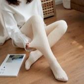 海谜璃秋冬立体螺纹竖条纹打底裤加绒加厚一体裤防顶破保暖裤外穿女HB0006
