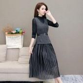 海谜璃连衣裙气质秋季两件套裙子台湾名媛职业装HBF2397