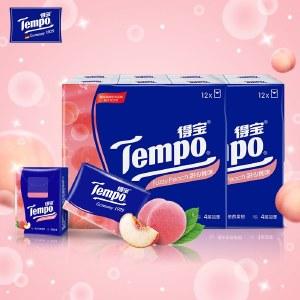 得宝(Tempo)手帕纸4层24小包 便携式手帕纸(甜心桃味)