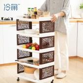 冷角 多层厨房可移动置物架带轮塑料层架浴室卫生间储杂物收纳架子 加高款【新品上市】