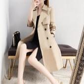 海谜璃秋装风衣女中长款小个子新款气质收腰卡其色英伦风外套HBF1247