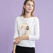 海谜璃白色印花长袖T恤女2020年新款秋季艺术感印花显瘦棉t桖上衣HBF2446