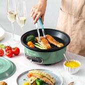 摩飞 多功能料理锅 家用小圆锅电烤锅炉一体小型电火锅电煮锅电烤盘电烧烤锅 标配 MR9089