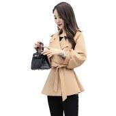 海谜璃简约个性纯色2020秋季中长款九分袖显瘦修身百搭时尚毛呢外套HBF2422