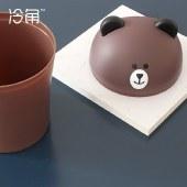 冷角 创意迷你办公桌面垃圾桶可爱卧室床头小号家用纸篓简约小熊收纳桶