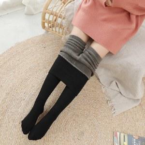 海谜璃新款加绒加厚竖条打底裤螺纹高腰棉质保暖一体裤女外穿HBF1386