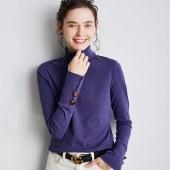 海谜璃纽扣t恤女修身长袖女装秋季打底衫女内搭高领时髦时尚洋气上衣HBF2442