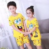 海谜璃卡通动漫儿童睡衣女夏季短袖男童女童短袖女孩童装可爱家居服套装HBF2341