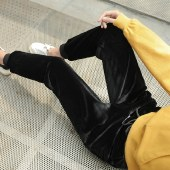 海谜璃金丝绒裤子女秋冬季双面绒加绒加厚宽松韩版小脚休闲运动裤哈伦裤HBF1315