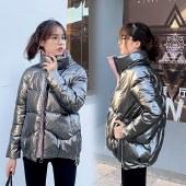 海谜璃亮面免洗羽绒棉棉衣冬装新款女式韩版面包服立领外套女棉服HBF2563