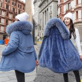 海谜璃中长款派克服女 2020冬季新款韩版加厚宽松保暖棉衣大码女式棉服HBF2378