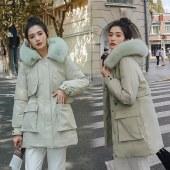 海谜璃棉衣外套女2020冬季新款韩版中长款羽绒棉服加厚派克服棉袄HBF2562