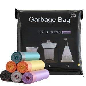 抽绳式收口穿绳加厚垃圾袋手提塑料袋5卷 颜色随机