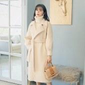 FENGMI新款毛呢大衣女灯笼袖中长款过膝呢子外套 W108