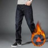 FENGMI冬天加绒男裤黑色直筒牛仔裤男士秋冬加厚保暖亲肤牛仔长WG-037R裤