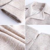 FENGMI很仙的两件套春冬套装小个子外套大衣女中长款人字纹毛呢裙子 W011
