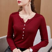 FENGMI丰幂纯色基本款打底衫法式纽扣上衣女 202005