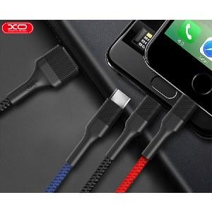 XO  多彩系列一拖三数据线 手机通用充电线无线传输线 黑色 XO-NB54