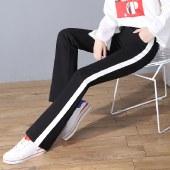 FENGMI修身薄款喇叭裤黑色休闲裤女微喇长裤1063#