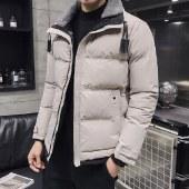 海谜璃新款加绒夹克羊羔毛修身立领棉衣男短款棉袄 HBF2673