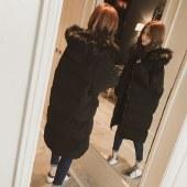 海谜璃冬季羽绒棉服加厚外套女冬面包服棉袄中长过膝棉衣 HBF2638