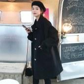 FENGMI韩版毛呢大衣中长款直筒纯色西装领外套 W035