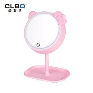 CLBO卓联博 粉妆-化妆镜三色灯 led美容梳妆镜带灯大 台式小镜子桌面可立美妆镜