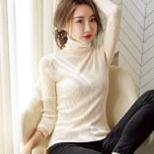FENGMI高领内搭纯色薄款长袖早秋打底针织上衣女1113