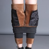 FENGMI冬季休闲打底裤外穿铅笔弹力修身小脚长裤高腰弹力大码加绒打底6926-1